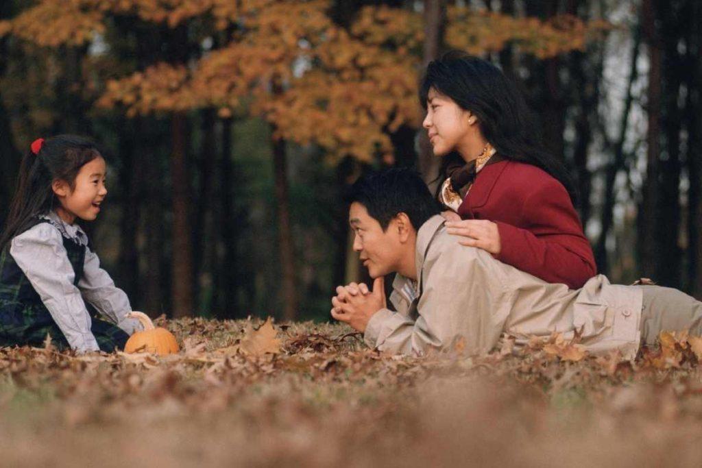 family talking outside