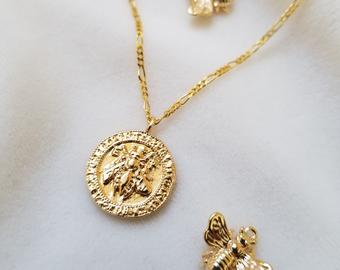 gold vintage coin necklace