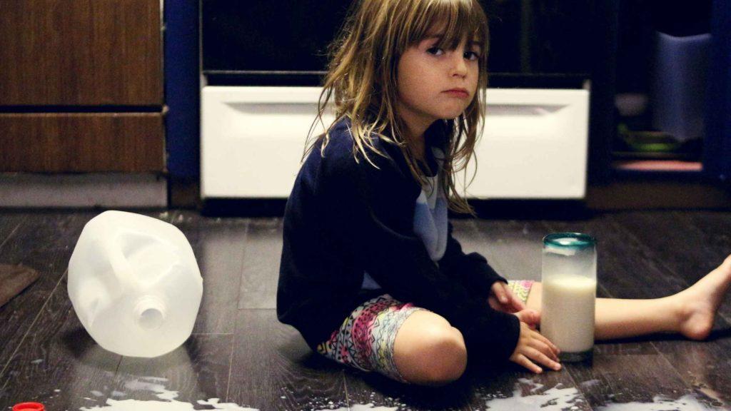 child spilled milk