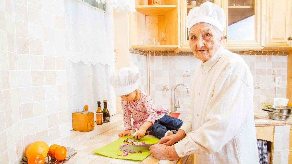 grandma cooking in kitchen